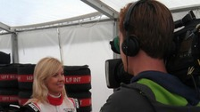 Villota interviewed before taking to the track today.