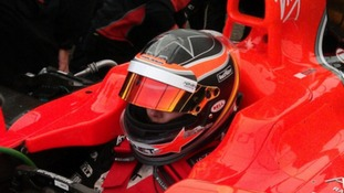 Villota in her F1 test car before the incident.