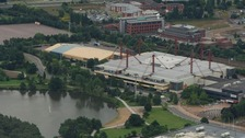 An aerial shot of the arena at the NEC