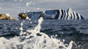 The Costa Concordia ran aground off the west coast of Italy in January.