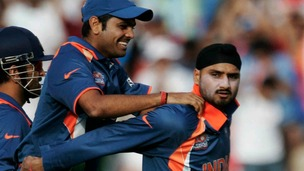 Harbhajan in action for India