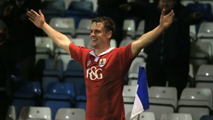 Bristol City's Matt Smith celebrates scoring at the Priestfield Stadium