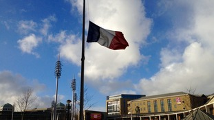 The Tricolore flies at half mast in Bradford's Centenary Square