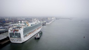All seven of the P&O Cruises Fleet docked in Southampton Docks