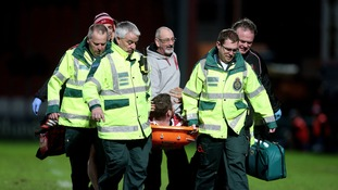 Gloucester and England's Ben Morgan is stretchered off