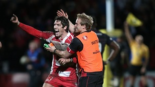 James Hook celebrates kicking a 50m penalty that won Gloucester the game