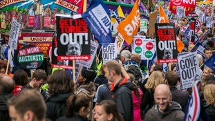 A march and rally held by striking public sector workers took place in central London in July 2014.