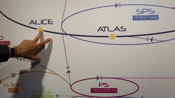 Physicist explaining the ATLAS experiment