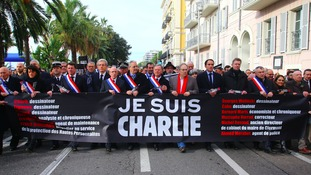 More than 25,000 people demonstrated on the Promenade des Anglais in Nice yesterday in support of Charlie Hebdo and the other victims of the terrorist attacks in France