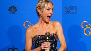 Joanne Froggatt poses with her award for Best Supporting Actress in a Series, Mini-Series or TV Movie for her role in