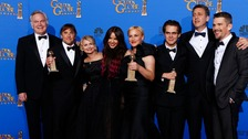"The cast of ""Boyhood"" poses backstage."