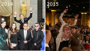 Benedict Cumberbatch photobombing U2 at the Oscars in 2014 (L) and Meryl Streep at the Golden Globes last night