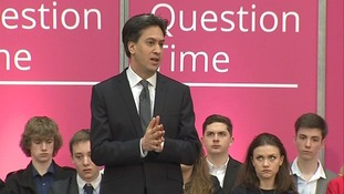Ed Miliband answering questions in Stevenage