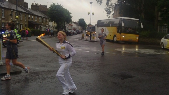 Bob Penhaligon sent us this picture of the torch in Peterborough