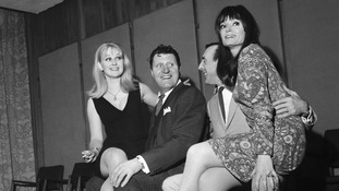 "The cast of Sykes' first film ""The Plank"" starring Tommy Cooper and actresses Anna Carteret  (left) and Clovissa Newcombe."