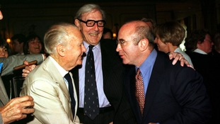 Sykes with actors Sir John Mills and Bob Hoskins at a special lunch thrown in his honour at the Dorchester Hotel, London.
