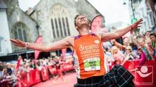 Rob Young finishing the Cardiff Marathon 2014