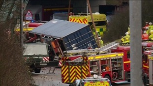 The lorry overturned at the roundabout linking the M32 and the M4