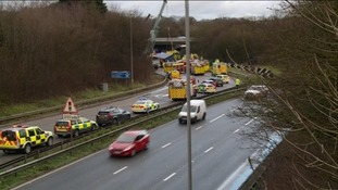 Emergency vehicles at the scene of the accident on the M32 in Bristol