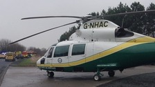 The Great North Air Ambulance attending a call out in Northumberland