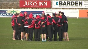 Big hug at Plymouth Albion