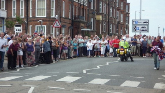 Crowds ready to greet the Olympic Torch in Cromer