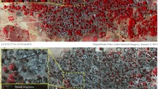 Top satellite image of the village of Doro Baga on January 2, the lower one was taken on January 7.