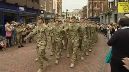 Soldiers from the Mercian regiment march through Derby