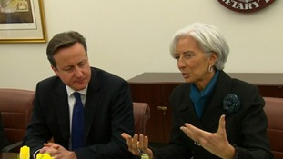 Prime Minister David Cameron and IMF managing director Christine Lagarde in Washington.