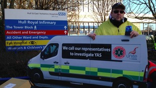 It's the latest in a campaign to highlight their concerns with the Yorkshire Ambulance Service. Unite say whistleblowers are being silenced.