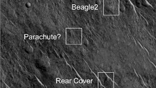 Labelled grey scale (red band) of Beagle 2 components on Mars