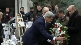 John Kerry laid a wreath outside the kosher supermarket in Paris