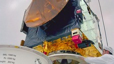 Speclist preparing the Beagle 2 lander as part of the European Space Agency's Mars Express Mission to be launched on June 2, 2003