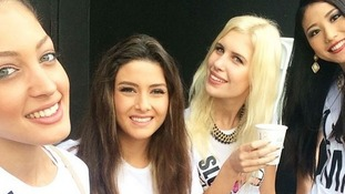 A photo posted to the Instagram account of Miss Israel (L) shows her with Miss Lebanon, Miss Slovenie and Miss Japan