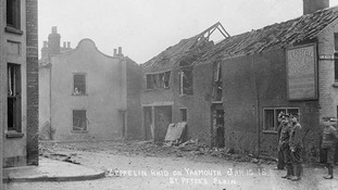Imperial War Museum picture of St Peter's Plain in Great Yarmouth on 20th January 1915 following a bombing raid by German Zeppellins
