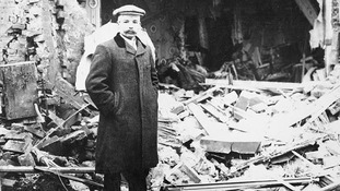 Edward Ellis outside his home in Great Yarmouth on 20th January 1915 following a bombing raid by German Zeppellins.