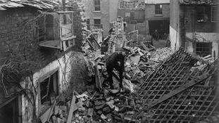 Bentinck Street in King's Lynn on 20th January 1915 following a bombing raid by German Zeppellins.