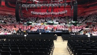 Thousands of children at Sheffield Motorpoint Arena rehearsing for Young Voice