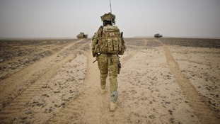 A British Army Officer from 1st Battalion Princess of Wales Royal Regiment