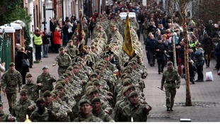 The 3rd Battalion, The Mercian Regiment march through Lichfield on return from their tour in Helmand Province, Afghanistan in November 2011