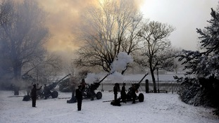 Soldiers of 35 Battery, 39 Regiment Royal Artillery, fire a 21-gun Royal Salute for the Diamond Jubilee in February