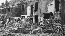 Albert Street in King's Lynn in 1915 following a bombing raid by German Zeppelins.