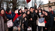 Jay Chou with fans outside Castle Howard in North Yorkshire Credit: Jay Chou Facebook