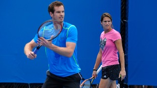 Andy Murray with his coach Amelie Mauresmo during his practice at the Australian Open