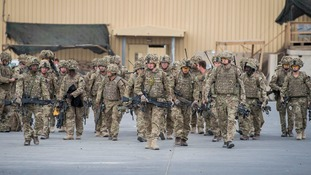 Some of the last British troops leave Camp Bastion