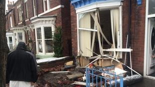 Scene of destruction at the house in Argyle Road after a car crashed into it