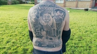 The full-back tattoo took 50 hours to complete