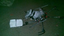 A six-rotored helicopter drone that crashed attempting to smuggle drugs into the US.