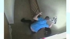 William Legget beating his dog on CCTV