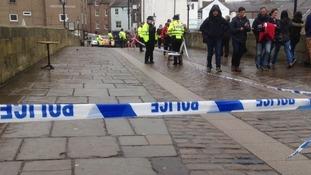 Police tape around Framwellgate Bridge